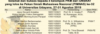 3 Kelompok PKM dari Unsrat Lolos ke Pekan Ilmiah Nasional (PIMNAS) ke-32